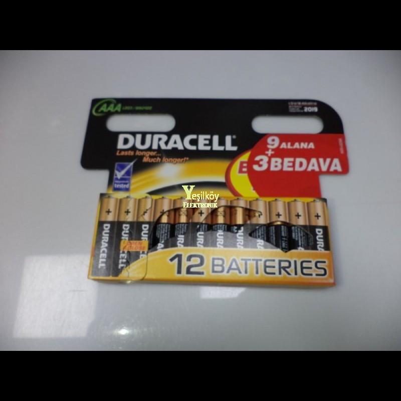 Duracell AAA pil 12li paket