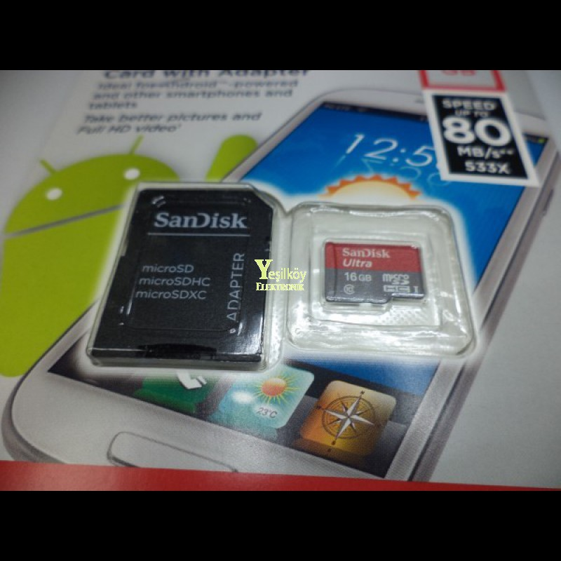 Sandisk 16gb Sd Kart Adaptörlü