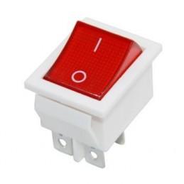 Geniş Işıklı Anahtar On-Off 4p Kırmızı - Beyaz Kasa