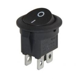 Yuvarlak Işıksız Anahtar On-Off 4p Siyah