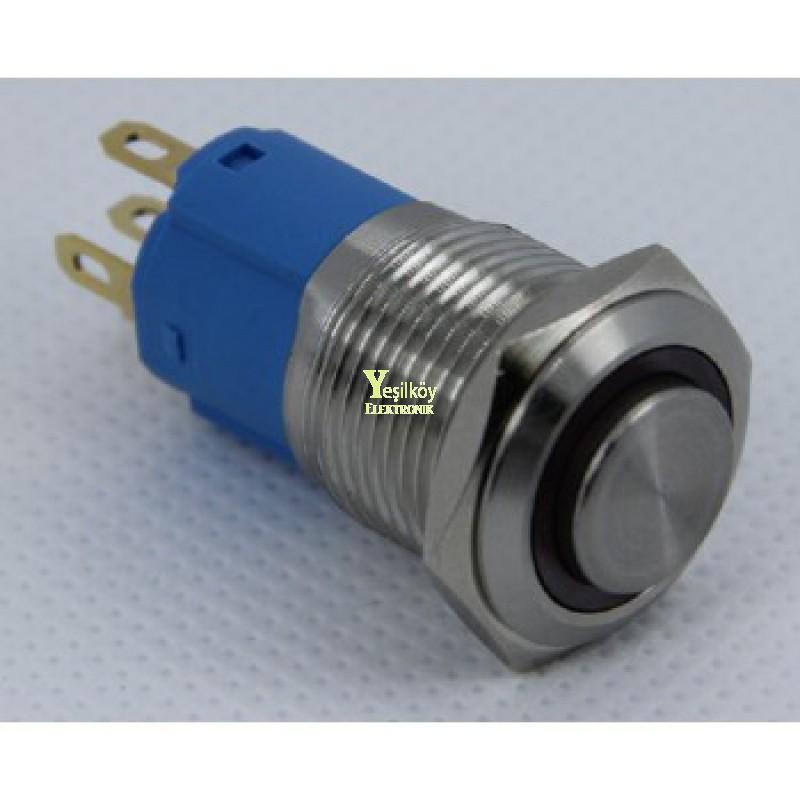 Swion Metal 12volt 16mm Halka Ledli Anahtar Çıkık ip67 Beyaz