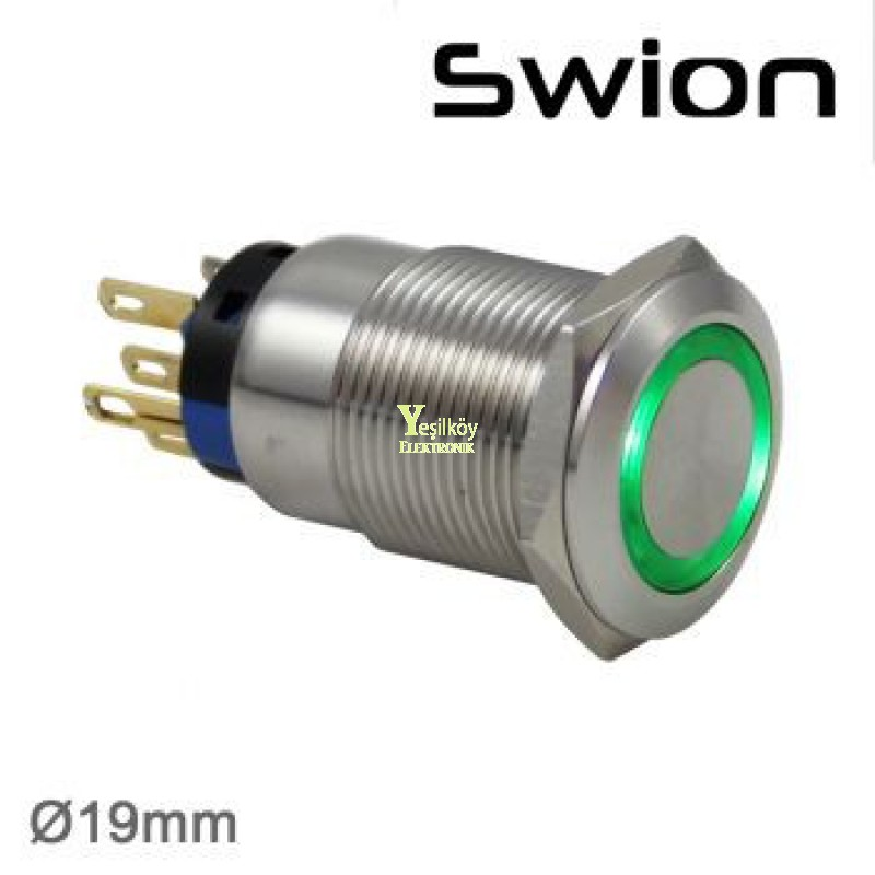 Swion Metal 12volt 19mm Halka Ledli Anahtar ip67 Mavi