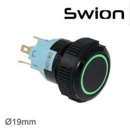 Swion Metal 12volt 19mm Halka Ledli Buton ip67 Yeşil