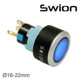 10-24v 22mm Yaylı Buton 1no-1nc Mavi Plastik
