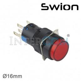 10-24v 16mm Yaylı Buton 1no-1nc Yuvarlak Kırmızı Plastik