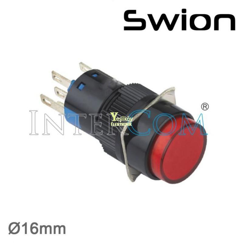 10-24v 16mm Yaylı Buton 1no-1nc Yuvarlak Yeşil Plastik