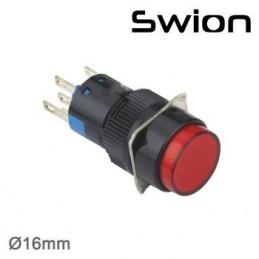 10-24v 16mm Kalıcı Anahtar 1no-1nc Yuvarlak Kırmızı Plastik