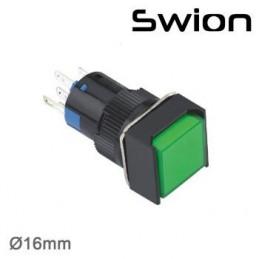 10-24v 16mm Kalıcı Anahtar 1no-1nc Kare Yeşil Plastik