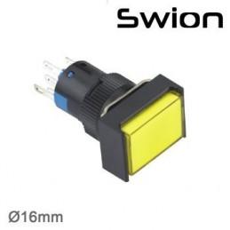 10-24v 16mm Kalıcı Anahtar 1no-1nc Dikdörtgen Sarı Plastik