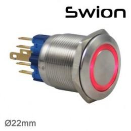Swion Metal 24volt 22mm Halka Ledli Anahtar ip65 Kırmızı