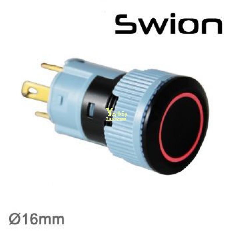 Swion Metal 24volt 16mm Halka Ledli Buton ip67 Beyaz