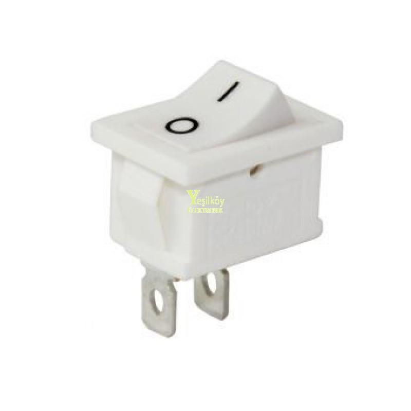 Mini Işıksız Anahtar On-Off 2p Beyaz